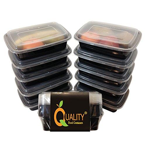 Premium-Frischhaltedose mit Fächern, 10 Stück, mikrowellen- und spülmaschinenfest, stapelbar, wiederverwendbar, zur Zubereitung von Mahlzeiten, mit Deckel und geteiltem Boden, als Bento Box oder für Mittagessen, Recycling-Code 5PP, 100% BPA-frei, schwarz