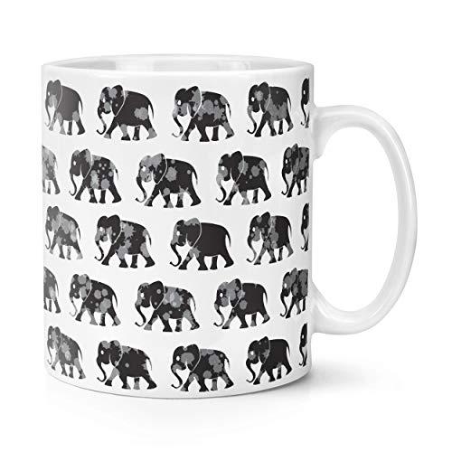 Elefantes Monocromo Estampado 10oz Taza