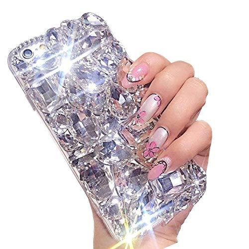 LCHDA iPhone 7 8 Diamant Hülle,Handyhülle Apple iPhone 7 8 Glitzer Weiß Strass Bling Bling Case Glänzend Durchsichtig Kristall Steine Silikon Hardcase Schutzhülle -