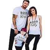 Ansenesna Vater Mutter Sohn Tochter und Baby Freizeit Baumwolle Kurzarm Outfits Kinder Familien Matching T-Shirts Kleidung Weiß (Mutter, S)