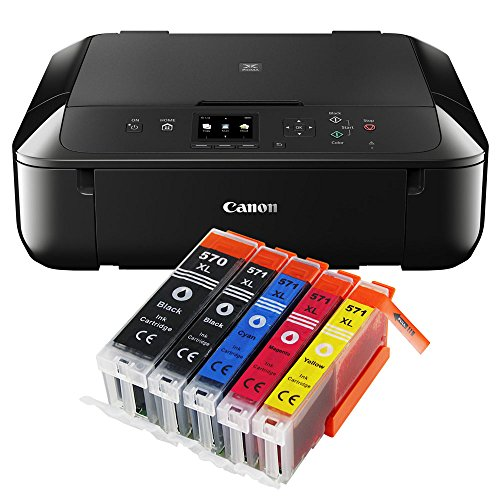 Canon Pixma MG5750 MG-5750 All-in-One Farbtintenstrahl-Multifunktionsgerät (Drucker, Scanner, Kopierer, USB, WLAN, Apple AirPrint) schwarz + 5er Set IC-Office XL Tintenpatronen 570XL 571XL (Originalpatronen nicht im Lieferumfang)