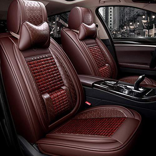 DaFei Autositzbezüge, 5-Sitzer-Set für vorne und hinten, Universal-kompatible Airbags, atmungsaktives Ahorn-Komfort-Schutzkissen (Farbe : Braun) -