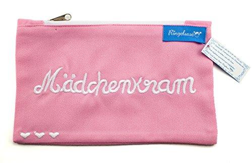 Kosmetiktäschchen Mädchenkram Rosa Weiß Bestickt Damen 12 x 20 cm Baumwolle Fair Trade Ringelsuse