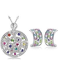 MARENJA Cristal-Conjunto de Collar y Pendientes Mujer Medallon Chapado en Oro Blanco Cristal Colorido