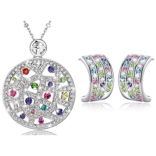 Clearance Sale-MARENJA Crystal-White Gold Plated Multicolored Austrian Crystal Circle Shaped Necklace & Earrings Set