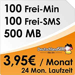DeutschlandSIM ALL-IN 100 [SIM & Micro-SIM] - 24 Monate Vertragslaufzeit (500MB Daten Flat, 100 Frei-Minuten, 100 Frei-SMS, 3,95 Euro/Monat, 19 ct Folgeminutenpreis) O2-Netz
