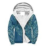 O2ECH-8 Männer Reißverschluss Oben Dick Vlies Hoody Männer & Frauen Dunkelblaue Mandala Muster Mode - Ethnischer Stil Kapuzenpullover aus Baumwolle Loose-Fit Jacke für White 2XL