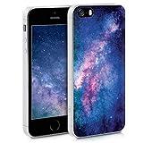 kwmobile Coque Apple iPhone Se / 5 / 5S - Coque pour Apple iPhone Se / 5 / 5S - Housse de téléphone en Silicone Rose Clair-Fuchsia-Bleu foncé