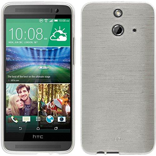 PhoneNatic Case für HTC One E8 Hülle Silikon weiß brushed Cover One E8 Tasche + 2 Schutzfolien