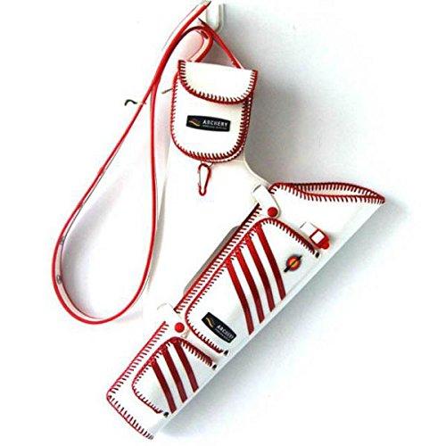 Bogenschießen Pfeile Köcher aus Kunstleder, mit verstellbarem Tragegurt, elegantes Design und schöne Farbe Rot + Weiß