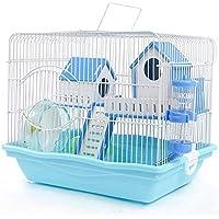 Hianiquaime® Azul Jaula de Hámster Doble Capas Castillo de Lujo Hámster Casa con Juguete Portátil