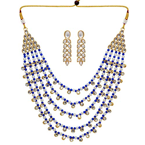 Jaipur Mart Alloy Metal Gold Plated Kundan Necklace Set for Women/Girls (KN201$P)