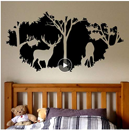 Wald Tier Wandtattoos ländlichen Jagd Design Fenster Wandmalerei Wald Hirsch Vinyl Wandaufkleber Startseite Schlafzimmer Dekoration kann angepasst werden (Hirsche Jagd Rufen)