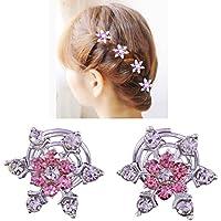 Miya® Set di 4 bellissimi fiocchi di neve per capelli con strass brillanti, spille spirali per capelli, per sposa, matrimonio, diciottesimo, Form2
