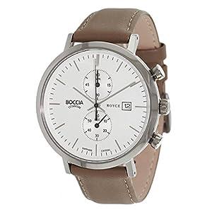 Boccia Herren Chronograph Quarz Uhr mit Leder Armband 3752-01