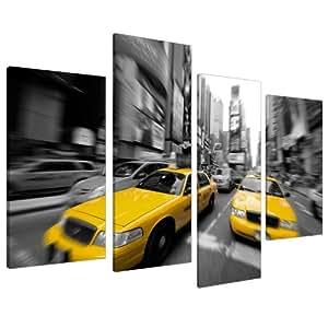 wallfillers canvas kunstdruck auf leinwand motiv taxi new york schwarz wei gelb 4028. Black Bedroom Furniture Sets. Home Design Ideas