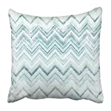 TEPEED Throw Pillow Covers Print Blue Easter Chevron Pattern Grunge of Zig Zag Colorful Lines Abstract Artistic Canvas Color Easter Polyester 18 X 18 inch Square Hidden Zipper Decorative Pillowcase