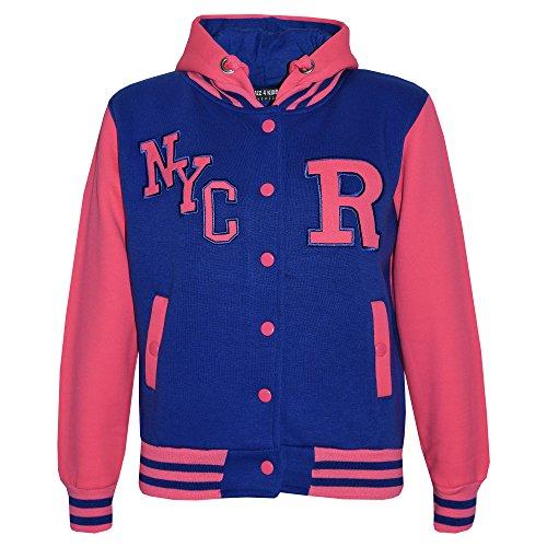 Kinder Mädchen Jungen R Mode NYC Baseball Jacke Mit Kapuze Uni Kapuzenpulli Alter 2-13 Jahre - Königsblau & Intensives Rosa, 134-140