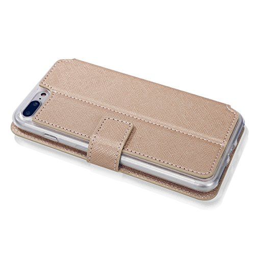 JAWSEU Coque pour iPhone 7,iPhone 7 Etui Portefeuille Pu avec Dragonne ,iPhone 7 Leather Case Wallet Protective Cover iPhone 7 en Cuir Folio Housse Coque de Protection,Ultra Slim Bookstyle Flip Wallet Or/Une fleur