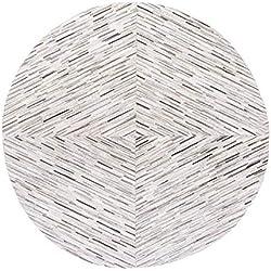 MuMa Alfombra de Cuero Gris, Empalme a Mano, Parte Posterior de Alfombra no Tejida, patrón de Rayas, Textura Natural, for el sofá/Dormitorio de la Sala de Estar (Color : YG-4)