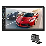 Uemaker Bluetooth-Autoradio, Auto MP5 Player 7 Zoll Doppel DIN Touchscreen Autoradio Einparkhilfe mit Rückfahrkamera Fernbedienung Auto DVD-Player