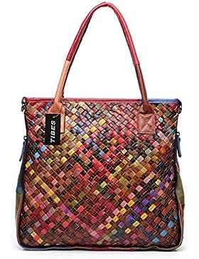 Tibes Leder gewebt Handtasche der Frauen Umhängetasche Geldbeutel Damen bunte Handtasche