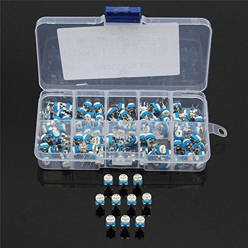 Bluelover 100Pcs 10 Valeurs Variable Résistance 500R À 1M Rm065 Film De Carbone Horizontal Trimpot Potentiometer Assortment Kit