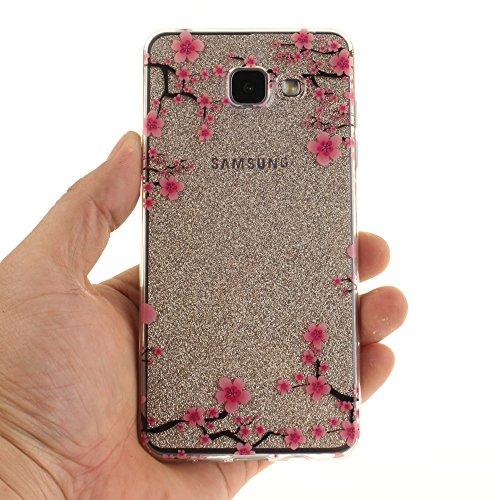 Galaxy A510 hülle,MCHSHOP Ultra Slim Skin Gel TPU hülle weiche Silicone Silikon Schutzhülle Case für Samsung Galaxy A5 (2016) A510 - 1 Kostenlose Stylus (Cartoon-Pinguin) Lila Blume