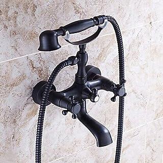 Hiendure ®Wandhalterung zwei Griffe Badewanne Armatur mit Hand dusche Schwarz Öl eingerieben Bronze-Finish