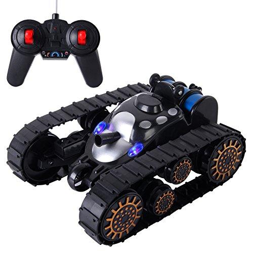 SGILE Spielzeugauto RC Tank mit Fernbedienung Stunt Car 360° Flip Schwarzer Tank mit LED Leuchten und Musik Kindergeschenk