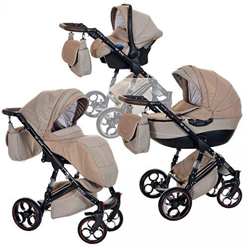 Kombi Kinderwagen 3in1 Baby 0-36 Monate Komplett Set GT one | Luftreifen Komfort Pannenfrei Garantie | Beige