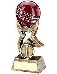 jr6-rf266b Brz/oro/rojo Cricket pelota de Star Riser trofeo–(1in Centre) 5.5in–incluye grabado gratis (hasta 30caracteres)