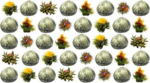40 Stück weißer Tee Teeblumen (4 Sorten) / Teerosen / Teeblüten / blooming tea / Erblühtee / Aufblühtee aus hochwertigem Weißtee by Feelino