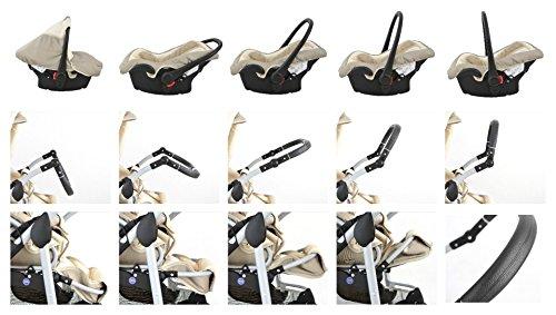 """Clamaro """"CORAL 2017"""" Kinderwagen 3 in 1 Kombi System (24 Farben wählbar) mit Babywanne Gruppe 0+ (0-13 kg), Sport Buggy und Auto Babyschale Aufsatz (ISOFIX), Alu-Stahl Gestell mit Luftreifen und einstellbarer Fahwerk Federung, vorne mit 360° Schwenkrädern und hinten mit EASY-STOP Bremse – 18. Violett / Schwarze Blumen"""