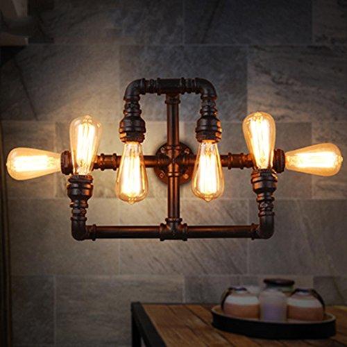 Nordic Rétro Style Industriel Mur Lampe Simple Fer Forgé Tuyau Mur Lampe Salon Restaurant Loft Bar Décoratif Lampes, Lumière E27 * 6, Taille 44 * 28 cm