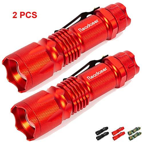 Readaeer LED Mini Taschenlampe 2 Stücke mit 3 Lichtmodi, superheller Taktische Tragbare IPX5 Wasserdichte mit integrierte Clip, einstellbare Fokus ZOOM, für outdoor und Arbeit [MEHRWEG] (Rot)