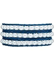 Rafaela Donata - Bracelet en cuir véritable - Perles synthétiques - Cuir véritable, collier en cuir véritable, bijoux en cuir - 60831027