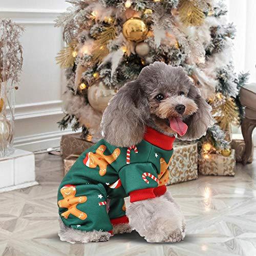 Knowled Hunde Pyjama Overall Winter Jumpsuit Haustier Pjs Hund Winter Warm Kostüm Weichen Kleidung Abnutzung Weihnachten Zuhause Kleidung Pyjamas Für Weihnachten Urlaub Vier-Füße (Pyjama Pjs Kleidung Hund)