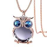 Sunnywill Frauen Eule Anhänger Diamond Pullover Kette Halskette Schmuck für Damen Mädchen (A)