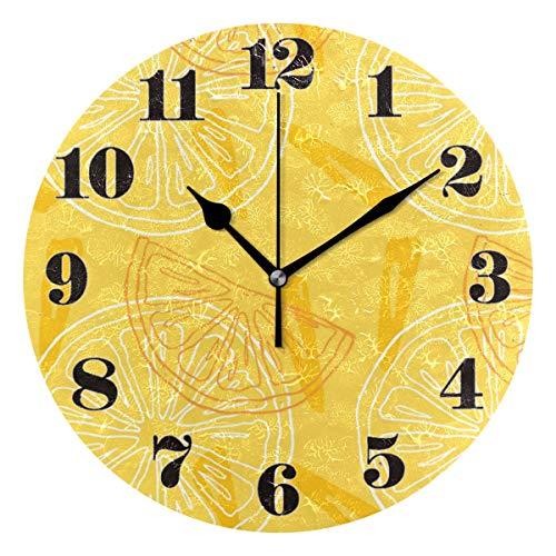 Mnsruu Wanduhr, Stille Nicht Ticken Runde Nette Zitrone Muster Dekorative Kunst Uhr für Wohnzimmer Schlafzimmer Büro Leicht zu Lesen -