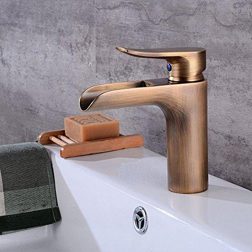 Rmckuva Waschtischarmaturen Retro Wasserfall-Effektbecken Wasserhahn Messing Badmischer Zeichnung Draht Mischhahn
