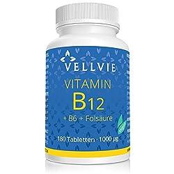 Vitamin B12 Vegan 1000 µg Tabletten aktives Methylcobalamin + Folsäure und B6 ohne Magnesiumstearat in Premium-Qualität, 180 Stk. hochdosiert im 6-Monatsvorrat von VELLVIE