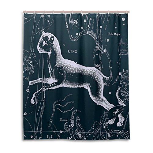 Tenda da doccia 152,4x 182,9cm, Fantasy grafico costellazione Lynx, a prova di muffa poliestere tessuto bagno tenda