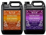 Dirtbusters - Detersivo e deodorante concentrati da 5 litri 1 al profumo di arancia e 1 freschezza primaverile, per la pulizia professionale di moquette con neutralizzazione di odori Adatti a tutti i tipi di macchinari per la pulizia dei tappeti e della moquette con sistema ad estrazione, inclusa VAX; sicuri su tutti i tipi di moquette, non danneggiano i colori e neutralizzano gli odori degli animali domestici.