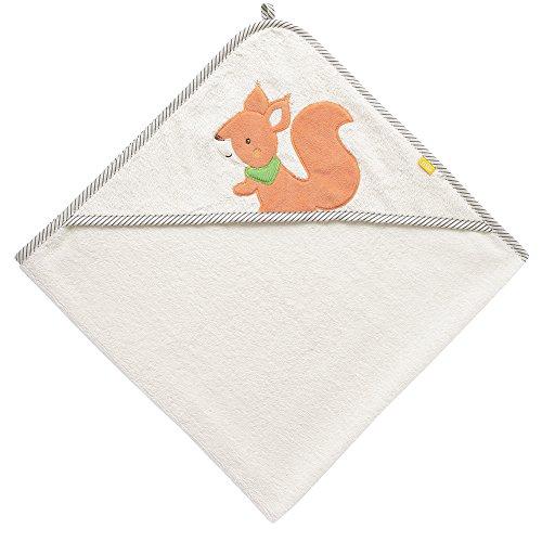 (Fehn 061192 Kapuzenbadetuch Eichhörnchen | Bade-Poncho aus Baumwolle mit Eichhörnchen Motiv für Babys und Kleinkinder ab 0+ Monaten | Maße: 80x80cm)
