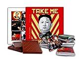 DA CHOCOLATE Cute Candy TAKE ME SERIOUSLY Chocolate Gift Set President of North Korea Kim Jong-un design 13x13cm 1 box (Face)