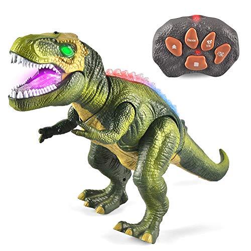 WISHTIME Fernbedienung Dinosaurier ElectricToy Kinder RC Tierspielzeug LED Leuchten Dinosaurier Gehen und Brüllen Realistische T-Rex Roboter Spielzeug Für Kleinkinder Jungen Mädchen - Roboter-t-rex