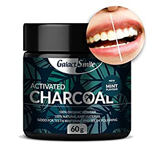 Organic Activated Charcoal Teeth Whitening Powder By Galact Smile - 100% Organic Gentle Formula - Tooth Cleaning & Polishing Properties - Detoxify Your Mouth & Enjoy Oral Hygiene. MADE IN UK.