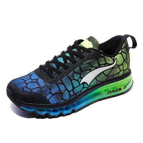 Onemix Uomo Donna Air Sneakers Fitness Scarpe da Corsa Unisex Adulto Scarpe da Running SkyBlue Verde