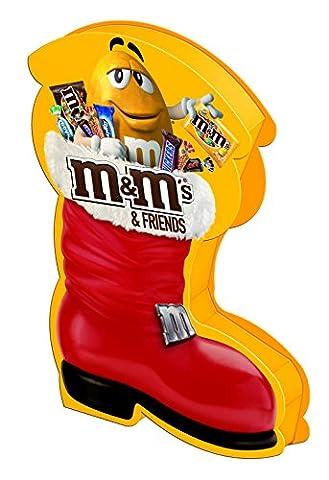 M&M'S & Friends Riegel-Mix im Weihnachtsstiefel / Nikolausstiefel mit M&M's, Bounty, Mars, Milky Way, Snickers und Twix für einen süßen Advent / 1 x (Wie Begann Weihnachten)
